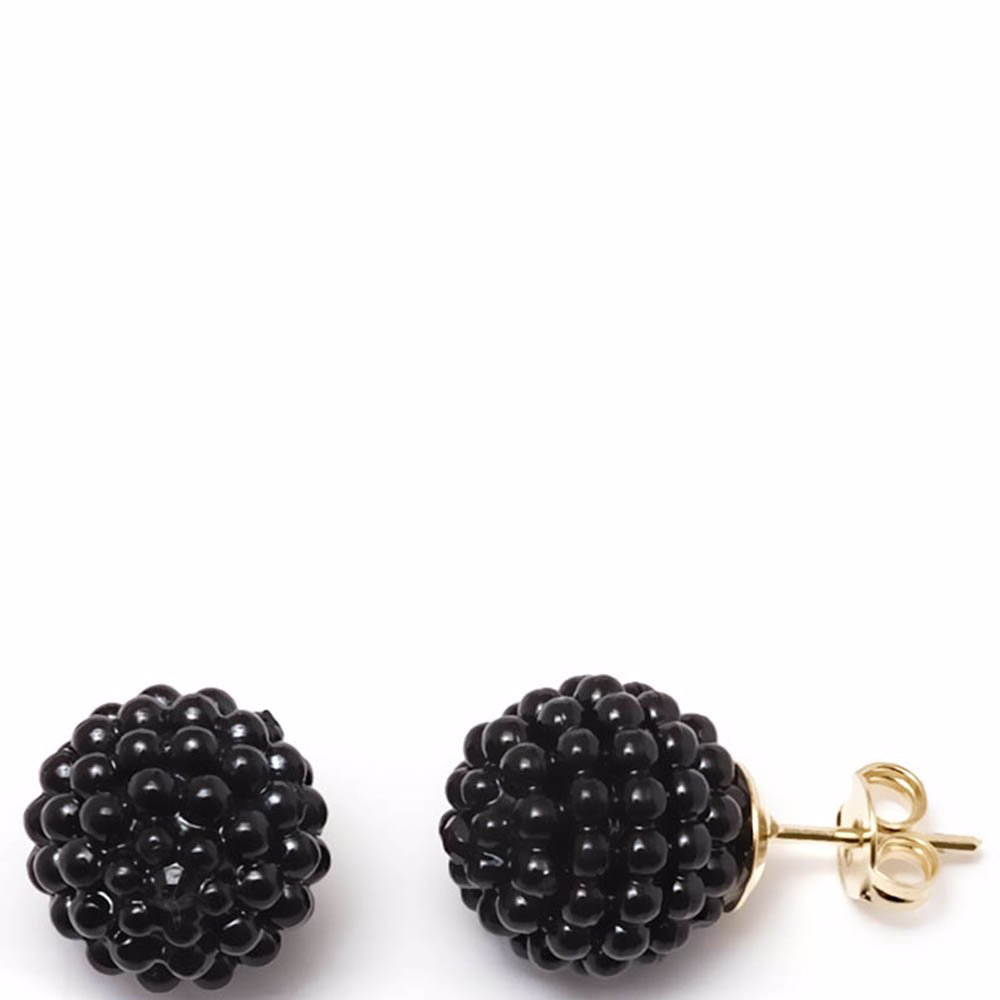 d9350c1d0 SINGSALE | All That Glitters Black Shell Pearl Pave Ball Stud Earrings