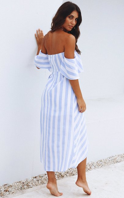9c2fe8b2f5a2f5 BuyInvite | Jamie My Love Blue And White Stripe The Bora Bora Midi ...