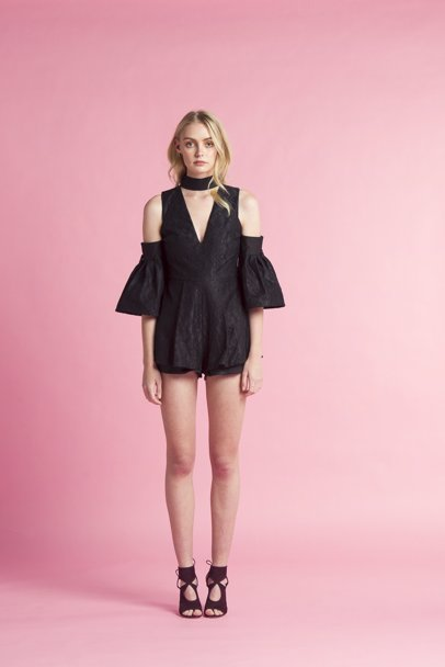 e3089d8b2e9 www.mysale.ph — Lucid Label Lamp Sleeve Lace Playsuit Black
