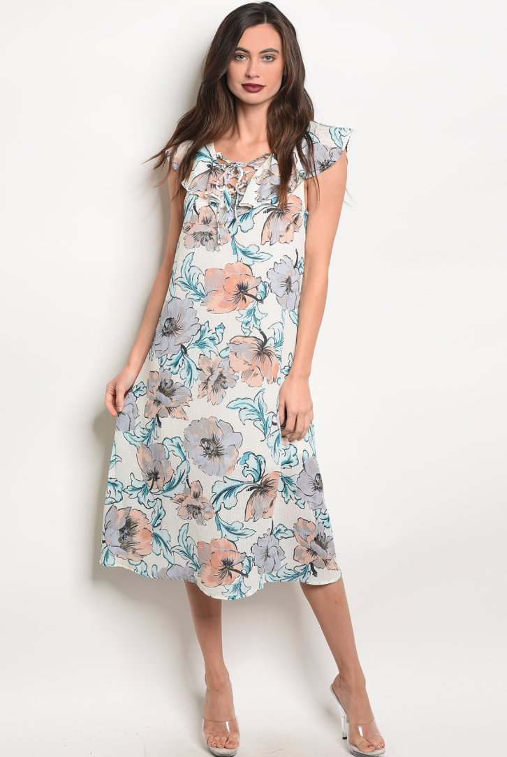 Preview with Zoom. Hudson James. Sleeveless V-Neck Floral Print Midi Dress  ... e4f03fa93