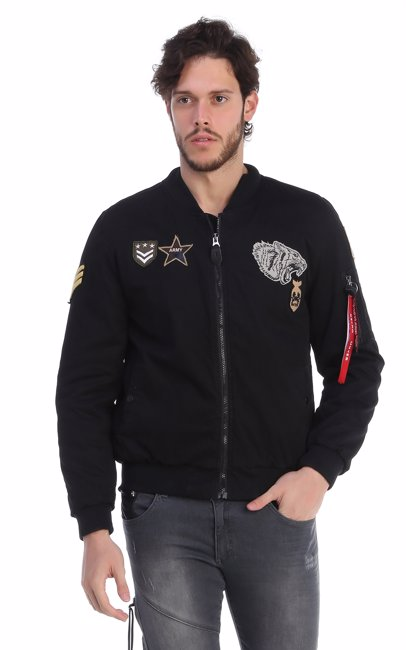 15106d1e BuyInvite | RNT23 Zip Up Bomber Embroided Patches Jacket Black
