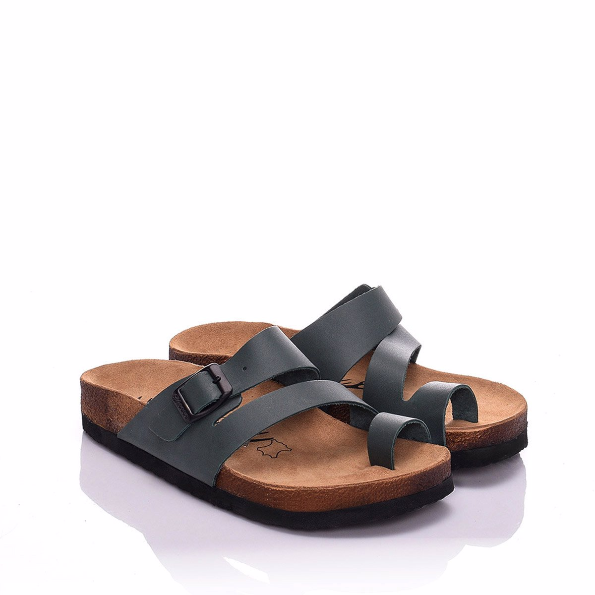 7200ac60c9117 BuyInvite | Moosefield Leather Sandals 18MS-08 Green