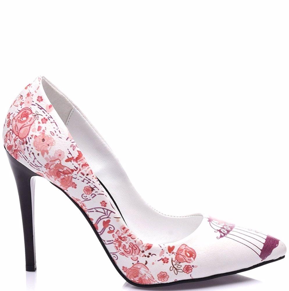 Ozsale Streetfly Heels Printed White Pink Flowers