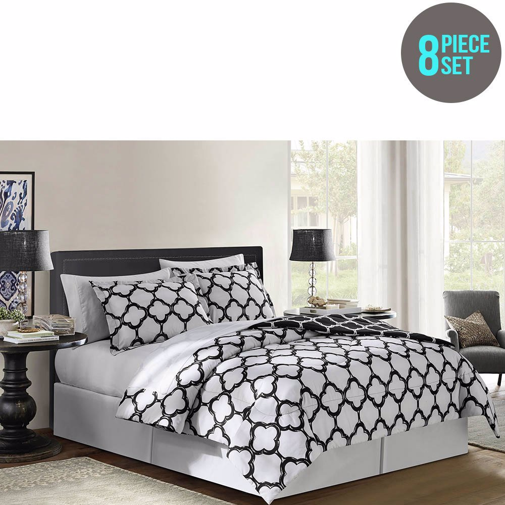 Nzsale Vcny Galaxy Reversible 8 Piece Bed In A Bag Queen Black