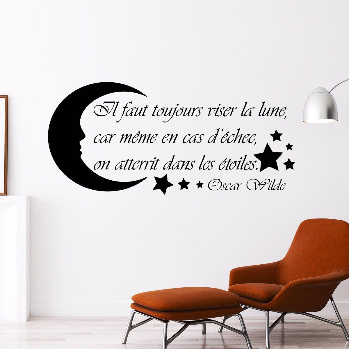 Wall Decal French Quote Oscar Wilde Il Faut Toujours Viser La Lune H55 X L120cm