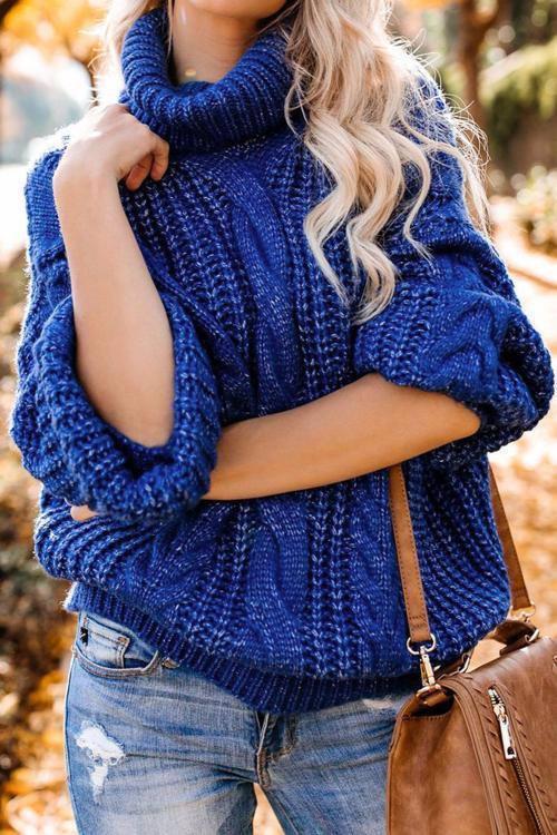 Oo Azura Exchange Azura Exchange Blue Chunky Turtleneck Sweater M
