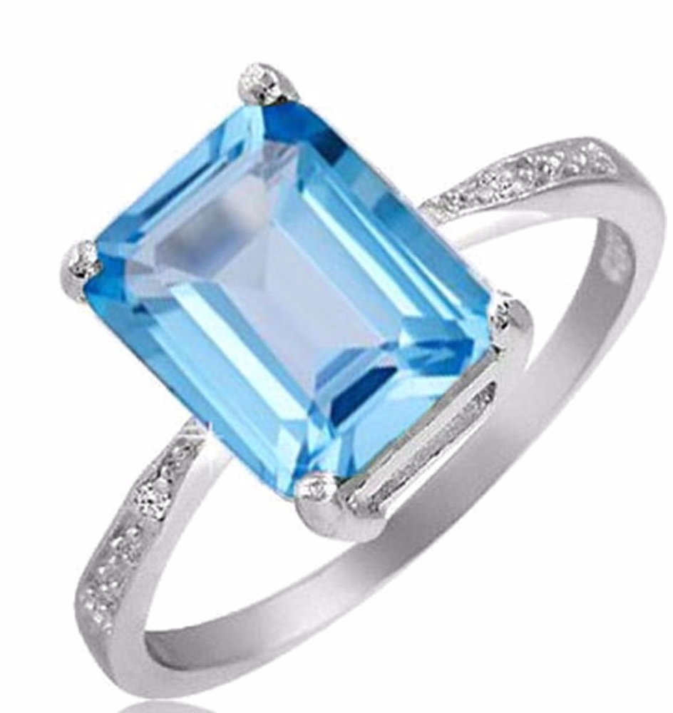 1ed4a9ba5 OZSALE | Yeidid Jewellery 4.00 Cttw Genuine Blue Topaz Emerald Cut ...