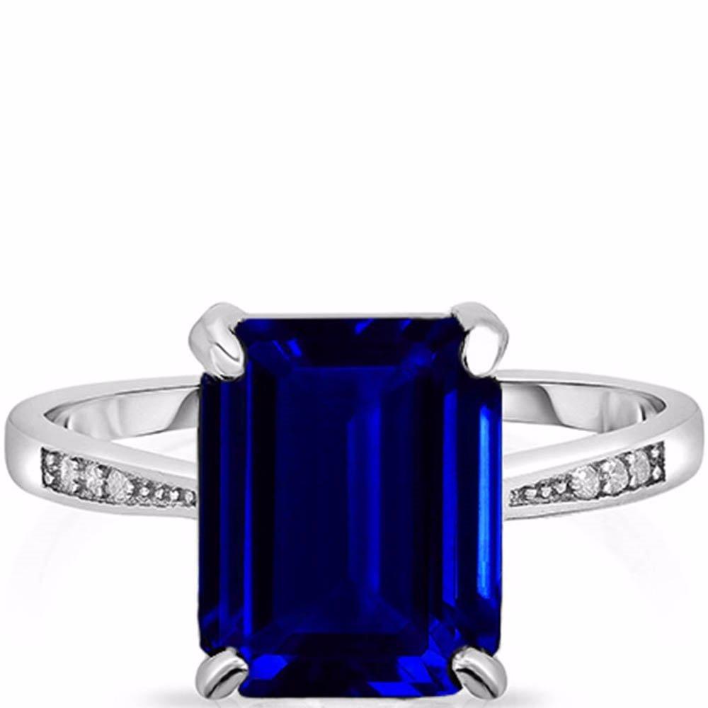 82e43fcf5 SINGSALE | Yeidid Jewellery 4.00 CTTW Blue Sapphire Emerald Cut ...