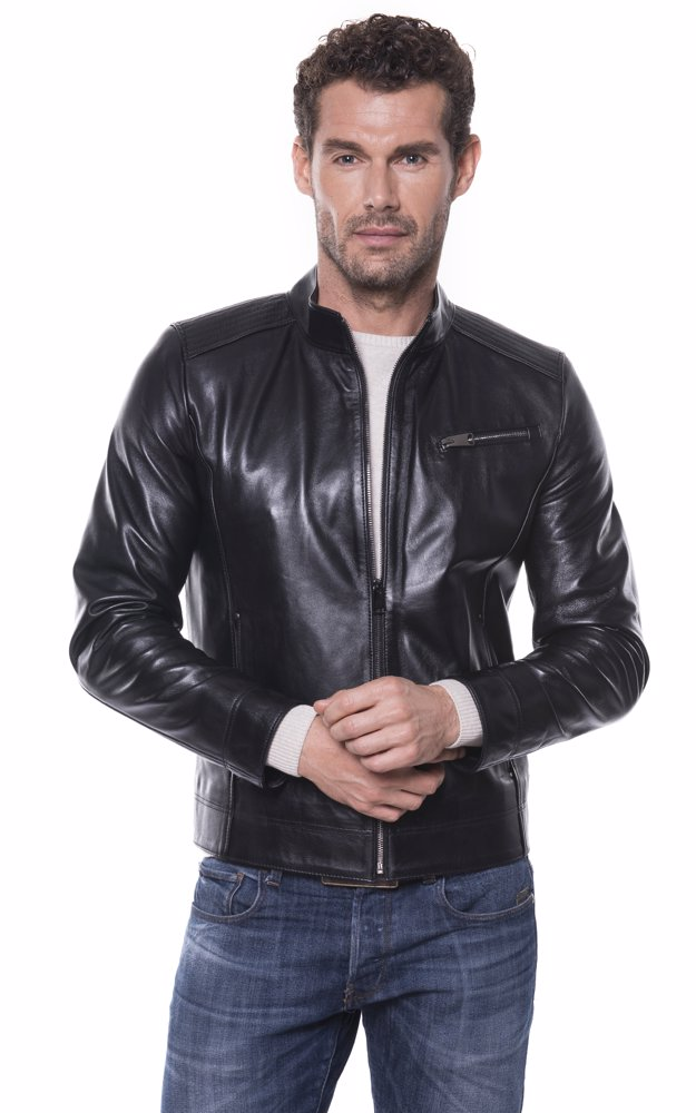 bf169491a Mens Leather Jacket Black