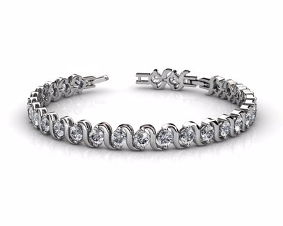 Tennis Bracelet with Crystals -White Gold/Clear