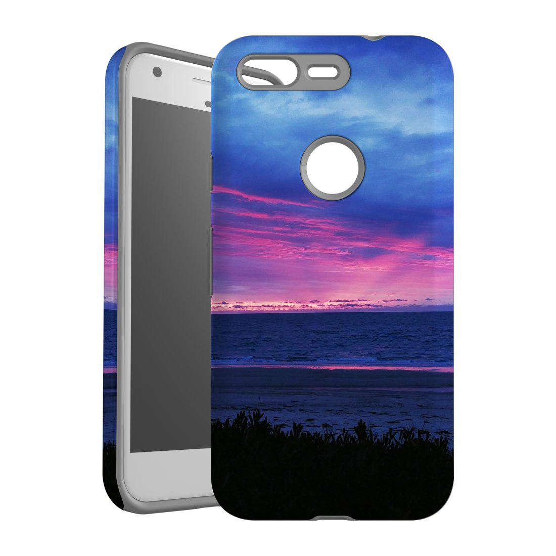 For Google Pixel 1 Case, Armour Back Cover, Sunset at the Beach