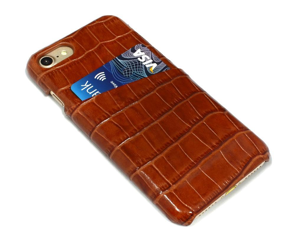 For iPhone 8,7 Case,iCoverLover Crocodile Shell Genuine Cow Leather,Light Brown
