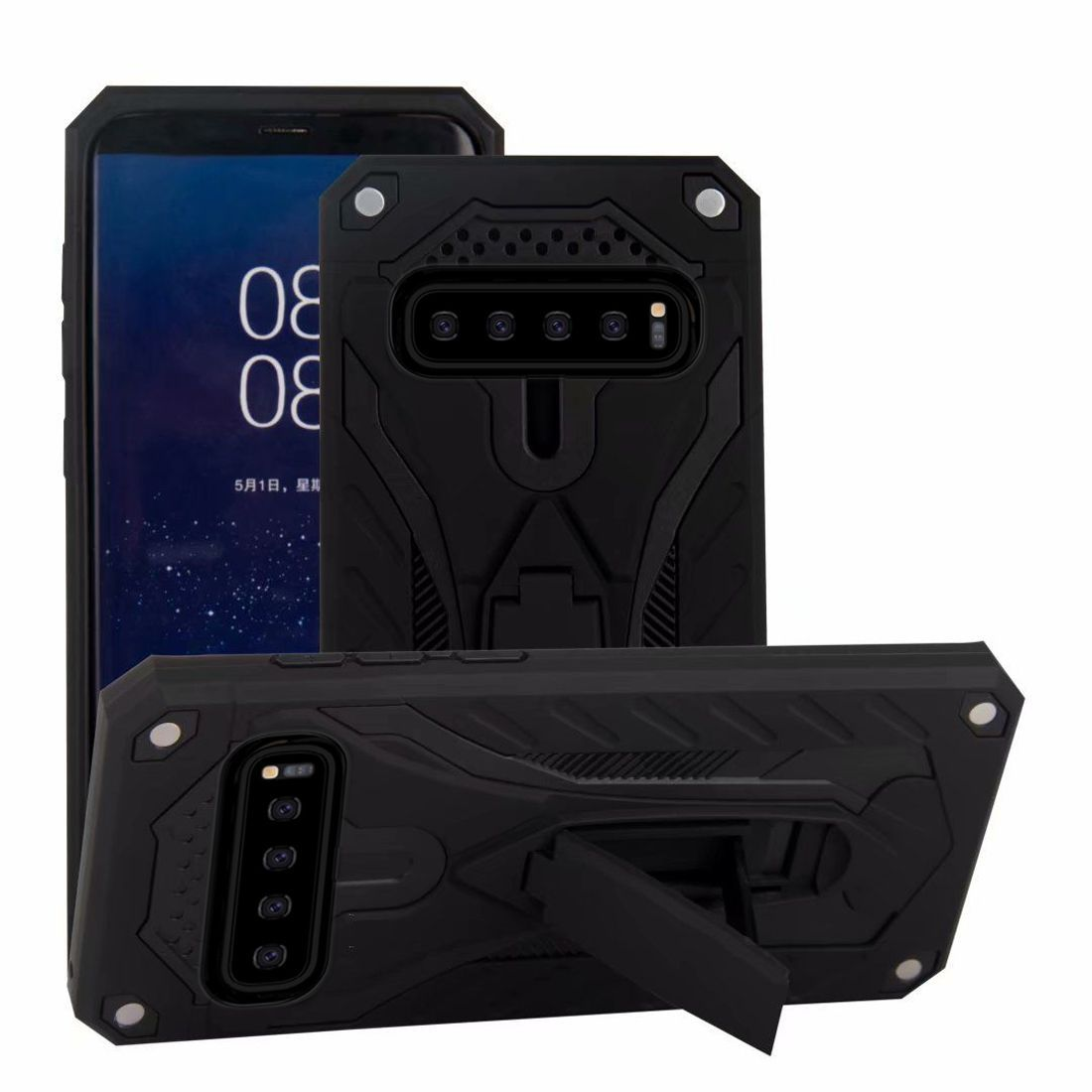 For Samsung Galaxy S10 Case, Armour Strong Shockproof Cover Kickstand, Black