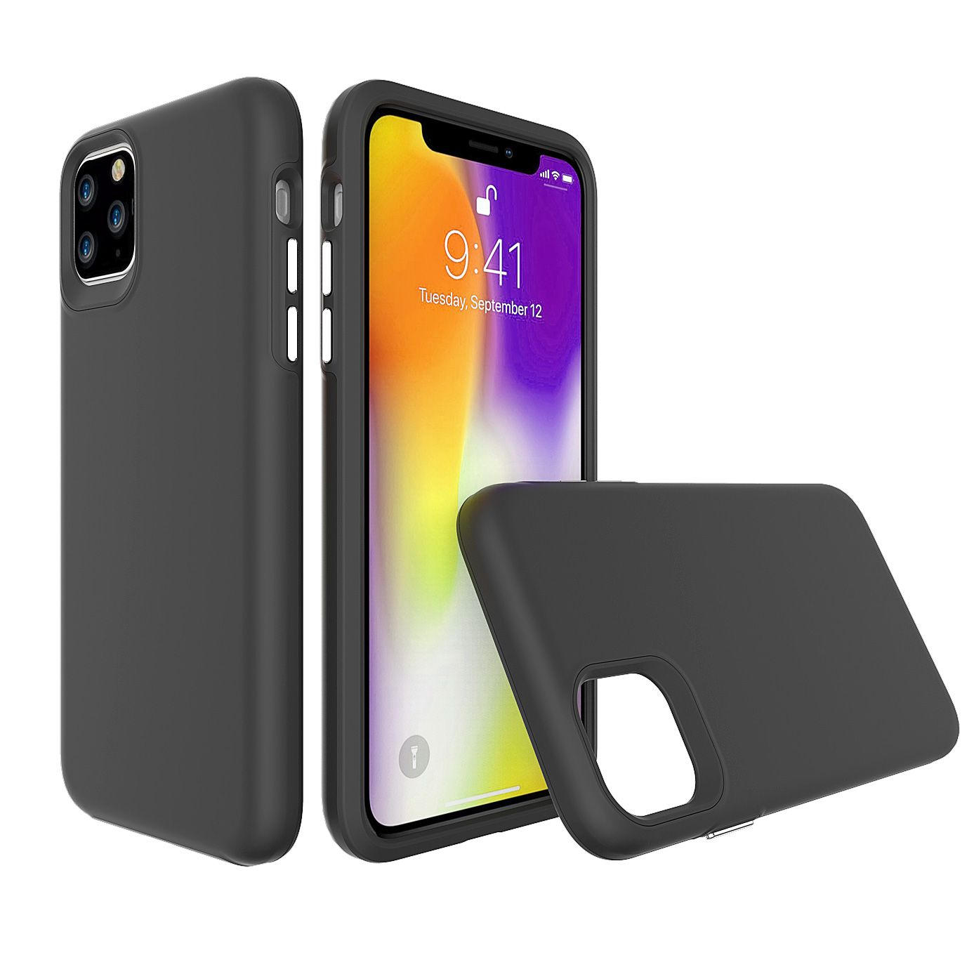 For iPhone 11 Pro Max Case, Shockproof Protective Strong Cover Black