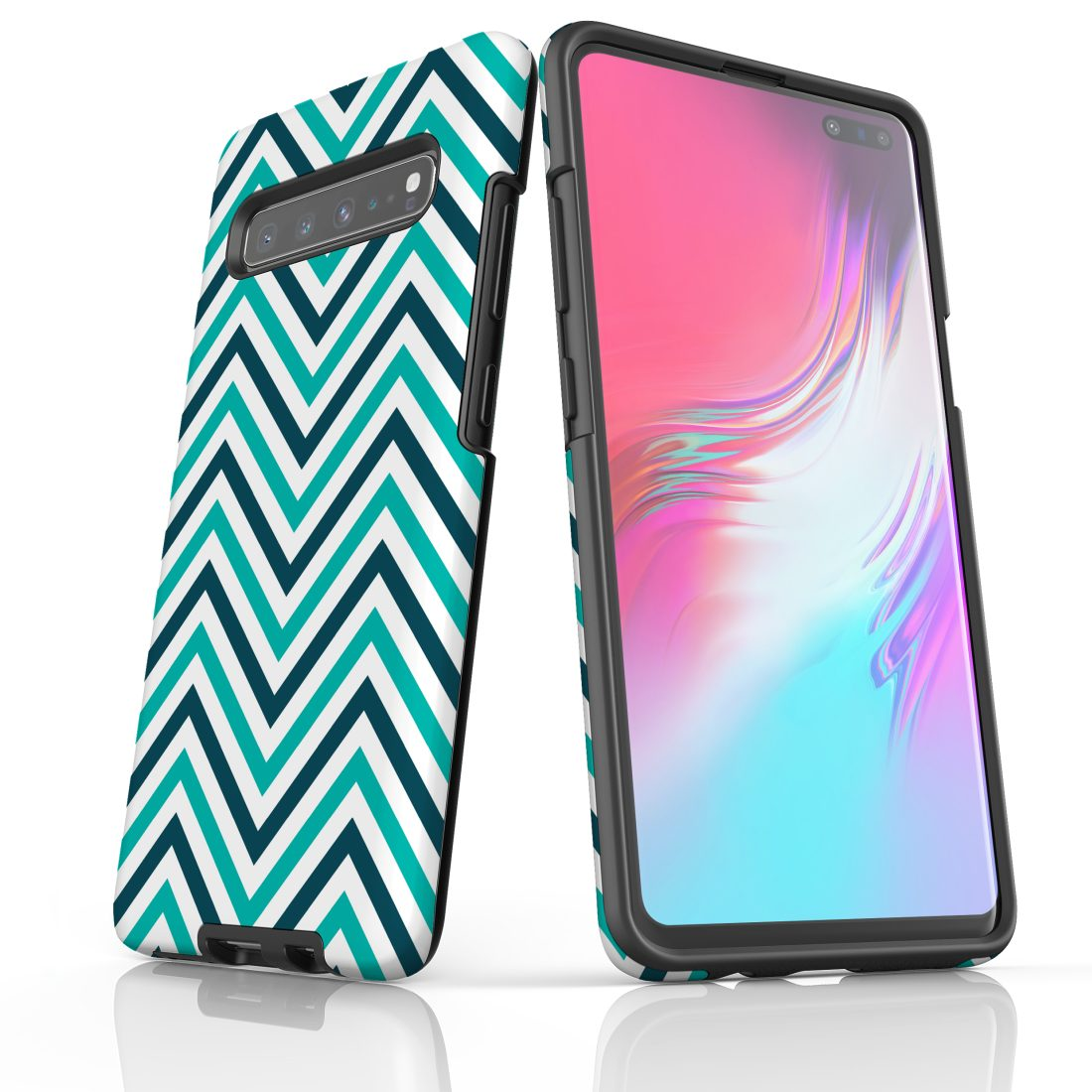 For Samsung Galaxy S10 5G Protective Case, Zigzag Turquoise