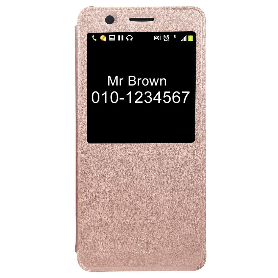 For Samsung Galaxy Note FE Case,Baseus Leather Caller ID Display Cover,Gold